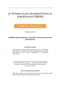 3rd international summer school in agroecology (ISSAE)