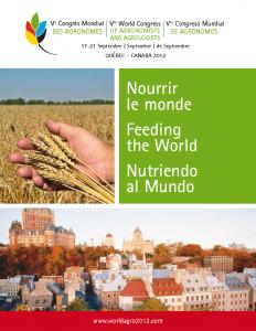 WORLDAGRO 2012 - Ve Congrès mondial des agronomes