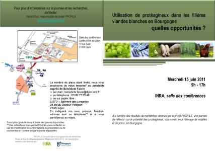 Flyer Séminaire « Utilisation de protéagineux dans les filières viandes blanches en Bourgogne – quelles opportunités ? »