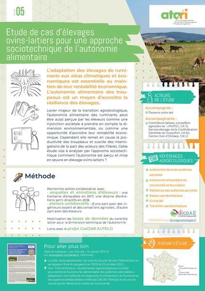 Étude de cas d'élevages ovins-laitiers pour une approche sociotechnique de l'autonomie alimentaire