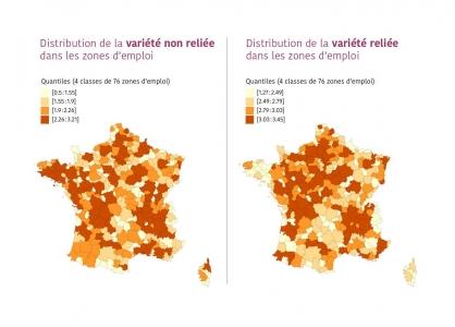 cartes de distribution des variétés reliée et non reliée dans les zones d'emploi