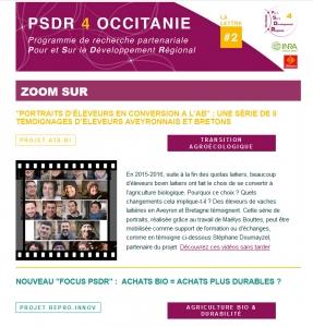 Extrait Lettre d'info PSDR4 Occitanie Juillet 2019